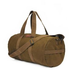 Welcome!  This unique Military Style Gym Bag gives you a distinctive styling & functionality. Like the original classic packs. This is a darker, unwashed, heavyweight canvas.  • Enormous main compartment • Inside zipper pouch • Brass hardware • 2 Wide adjustable shoulder strap  This is a limited production item.