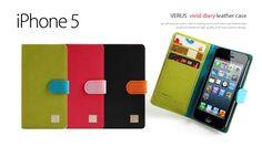 w3shstore Etui Cuir Verus Vivid Diary pour Apple iPhone 5 (Noir/Orange) : Accessoires pour votre mobile, smartphone, netbook, pdaphone, iphone