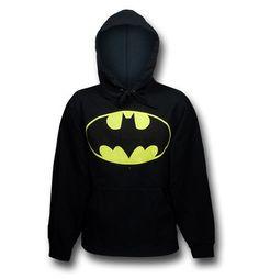 This is screenprinted Batman symbol on a black hoodie / sweatshirt!  Hoodie is 50% pre-shrunk cotton and 50% polyester!