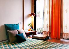 Jayati and Manali share their home tour as the science home décor - the calm and relaxing living area near the balcony Indian Room Decor, Indian Bedroom, Ethnic Home Decor, Room Wall Decor, Living Room Decor, Bedroom Decor, Living Area, Living Rooms, Bedroom Ideas