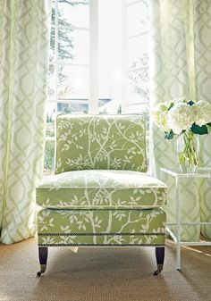 Chelsea Chair from Thibaut Fine Furniture in Sylvan Leaves woven fabric in Kiwi
