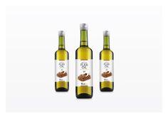 Diseño de las etiquetas de aceite lino, para la gama de productos ViveBio de Healthy Foods.