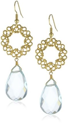Privileged NYC Aqua Quartz Drop Gold plated Filigree Earring