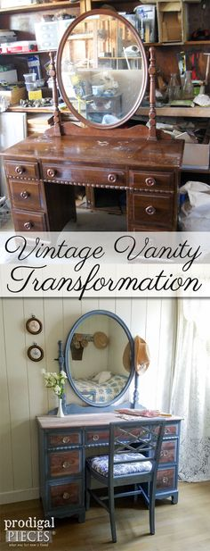 Vintage Kroehler Vanity Gets French Country Cottage Makeover by Prodigal Pieces | prodigalpieces.com