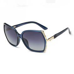 Embellished Oversized Square Plastic Polarized Sunglasses Blue