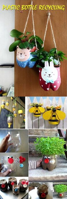 Plastic bottle recycling | GOOD HOUSE WIFE Recycled Bottles, Recycle Plastic Bottles, Diy Bottle, Bottle Crafts, Art From Recycled Materials, Recycling For Kids, Plants In Bottles, Diy Recycle, Garden Crafts