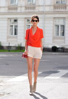 coral and lace shorts