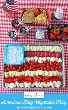How to make an American Flag Vegetable Tray, Dill Dip Recipe and easy grilled pizza. Fun food party ideas for the of July. Fourth Of July Food, 4th Of July Celebration, 4th Of July Party, July 4th, Patriotic Party, Patriotic Desserts, Patriotic Crafts, Holiday Treats, Holiday Recipes