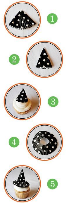 witch's hat cupcake topper instructions from @Heather Creswell Creswell Creswell Flores baked  #thepartydressmagazine