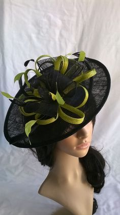 Beautiful Black  amp  Lime Sinamay Fascinator by SpecialDayfascinator Fascinator  Hats 2a86ae6c2014