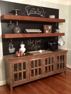 A Little Chalk Paint Behind Buffet And Add Some Cedar Beams For Fun Rustic Coffee Bar Fixer Upper Was My Inspiration