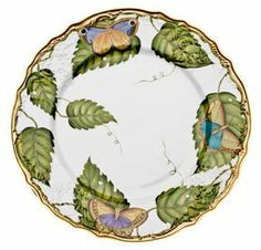 Anna Weatherley Exotic Butterflies 10.5 Rd Dinner Plate . $344.00. Flighty butterflies dance across each plate and dish in this dinnerware set. Five piece place setting includes dinner plate, salad plate, bread butter plate, tea cup and saucer. Anna Weatherley?s designs are based on botanical sketches from the 18th century as well as Dutch still-life paintings. At home, we find her pieces look just as good on our tables as they do on our walls. Material: Hand-pa...