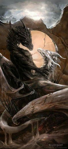 Doubt and Faith by Nightpark on Deviantart / dragons / fantasy creatures / mythical beasts Magical Creatures, Fantasy Creatures, Beautiful Creatures, Fantasy Kunst, Fantasy Art, Dragon's Lair, Dragon Artwork, Dragon Pictures, Wow Art