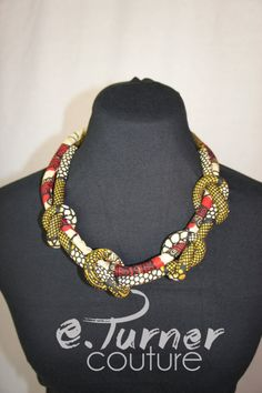 Ankara Necklace - Statement Necklace - Red Fabric Necklace