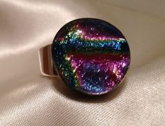 Size 8 silver plated ring with 96 Fusion Rainbow 2 - Dichroic on Thin black glass on Etsy, $20.00. SOLD