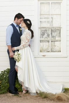 Wedding Photography Ideas : A luxurious silk skirt is accented by endless illusion lace for a gorgeously une