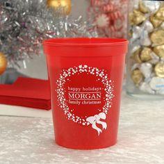 16 Oz. Holiday Wreath Personalized Plastic Christmas Stadium Cups   #christmas