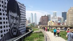 Showing item 1 of 5. High Line Park with art