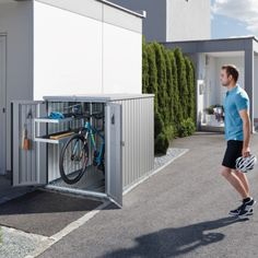 Looking for a secure way to store your bicycles or garden furniture without needing planning permission? The Biohort Mini Garage is an amazing and convenient method for keen cyclists or those looking for a compact storage solution. Garden Furniture, Outdoor Furniture, Outdoor Decor, Mini Garage, Bicycle Garage, Planning Permission, Patio Design, Storage Shelves, Storage Solutions