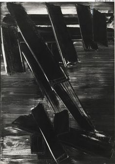you may say you see colors and textures, but I only see the movement in a specific  moment in space and time wherein Pierre Soulages' body's movement left its trace on a very large canvas.