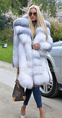 NEW 2017 ARCTIC ROYAL FOX FUR COAT CLAS CHINCHILLA SABLE MINK SILVER LONG JACKET