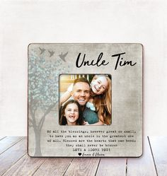 Uncle Gift Uncle Birthday Gift Uncle Picture Frame Gift Uncle Personalized Picture Frame Uncle gift from Niece Uncle Gift from Nephew Uncle