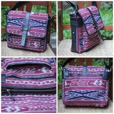 Messenger bag, made from Troso Jepara handwoven fabric, with leather strap and suede inner