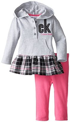 Calvin Klein Baby Girls' Gray Hooded Tunic with Pink Leggings, Gray, 12 Months: Tunic Leggings Little Boy Outfits, Toddler Girl Outfits, Kids Outfits, Toddler Girls, Boys, Girls Dress Pants, Baby Girl Dresses, Tunics With Leggings, Pink Leggings