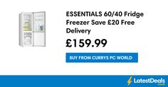 ESSENTIALS 60/40 Fridge Freezer Save £20 Free Delivery, £159.99 at Currys PC World