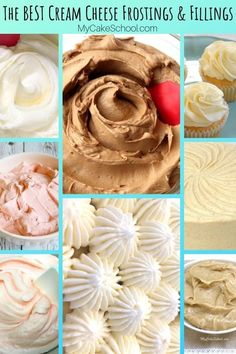 Sharing the BEST Cream Cheese Frostings and fillings! We love these silky smooth and delicious (not to mention EASY) recipes for cream cheese frosting! So many amazing options, enjoy! Cake Pops Frosting, Cream Cheese Buttercream Frosting, Cake Icing, Cake Filling Recipes, Frosting Recipes, Dessert Recipes, Cream Cheese Cake Filling, Macarons, Cupcake Cakes