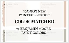 Fixer Upper Paint Colors Color Matched to Benjamin Moore Joanna's new paint line has us all swooning. Here are her 25 paint colors matched to local store paints! Interior Paint Colors, Paint Colors For Home, House Colors, Interior Painting, Paint Colours, Wall Colors, Fixer Upper Paint Colors, Matching Paint Colors, Magnolia Homes Paint