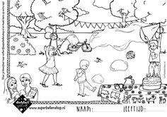 Kleurplaat feest met superbellen, ideaal voor een rustmoment op een kinderfeestje of BSO middag. Zeepbellen, bellenblazen, bellenblaas Snoopy, Fictional Characters, Fantasy Characters