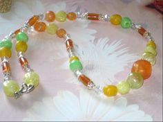 Chunky Summer Beaded Neon Necklace by cynhumphrey on Etsy, $18.99