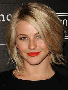"Chin-length: Julianne Hough  Give layers extra bounce with an at-home blowout. Apply a little bit of blow dry lotion to wet hair, then use a 2"" round brush to curl each section of your hair under. When dry, tousle to get Hough's casual, unstructured, look."