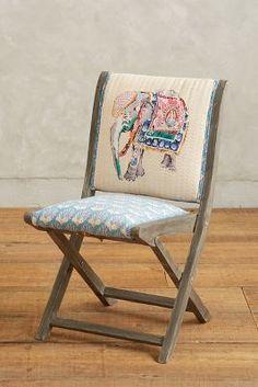 Anthropologie Elephant Appliqué Terai Folding Chair #anthrofave
