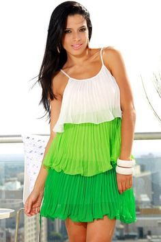 1015store.com-Retro Lime Pleated Tiered Ruffle Dress-$15.00