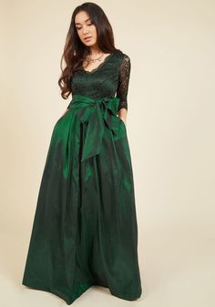 Applaud Your Elegance Maxi Dress | Mod Retro Vintage Dresses | ModCloth.com  As you float through the great hall in this emerald green ball gown by Eliza J, you receive accolades all around. Its stunning lace bodice - starring a V-neckline and sheer, 3/4-length sleeves - makes way for a wowing taffeta skirt, complete with statement pleats, a tie sash, and voluminous tulle lining. Talk about a memorable ensemble!