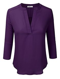 Doublju Womens 3/4 Sleeve High-Low Popover Blouse Top EGG...