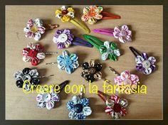 Mollette per capelli con fiori in stoffa fatti a mano