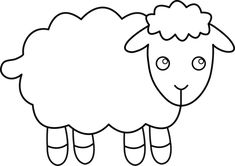 black and white clipart of lamb | Black and White Sheep