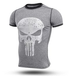 New Fitness Compression Shirt Men Punisher Skull T Shirt Superhero Bodybuilding Tight Short Sleeve T shirt Brand Clothing Tops 3d T Shirts, Gym Shirts, Workout Shirts, Short Shirts, T Shirt Fitness, Mens Fitness, Gym Fitness, T Shirt Sport, Shirt Men