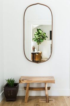 Entry mirror with shelf alpine modern remodel entry living den we did a tal Home Interior, Decor Interior Design, Interior Decorating, Entryway Mirror, Entryway Decor, Halls, Decoration Entree, Home And Deco, My New Room