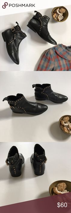 Black + gold studded ankle buckle booties size 5 Moro-chic inspired studded leather booties by Pour La Victoire... a perfect shoe to pair with black skinnies and nearly any blouse you might imagine! These shoes are in gently pre-loved condition with light allover wear, but no major flaws. They are women's size 5. (Listing is for boots only 😉) Pour la Victoire Shoes Ankle Boots & Booties