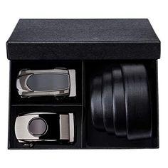 Hi-Tie Ceinture pour homme, en cuir véritable à cliquet avec 3 boucles  automatiques 515ec1793ca