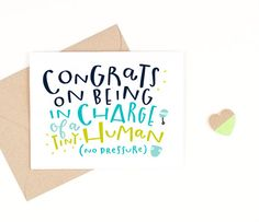 funny new baby card    tiny human    recycled by PinwheelPrintShop