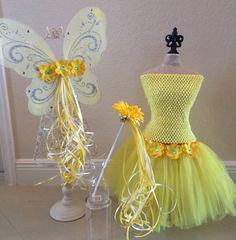 Yellow Tutu Set Yellow Fairy Wings Yellow Tutu by partiesandfun