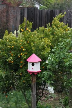 pretty pink birdhouse