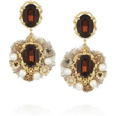 Dolce & Gabbana Gold-tone crystal and faux pearl clip earrings ($975) found on Polyvore