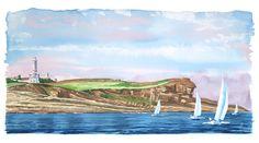 Santander, acuarela, watercolor Cabo, Landscapes, Watercolor, Writing, Portrait, Places, Illustration, Water Colors, Portraits