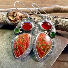 Jasper Jade and Carnelian silversmith earrings